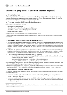 Směrnice k proplácení telekomunikačních poplatků