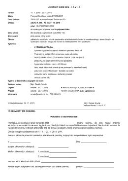 Informace pro žáky 1. ročníku