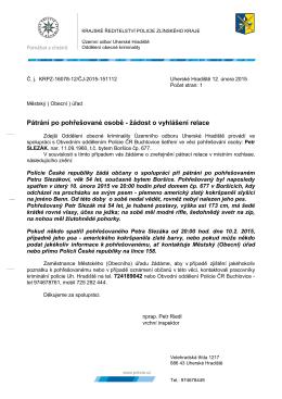 Žádost Policie ČR k pohřešované osobě