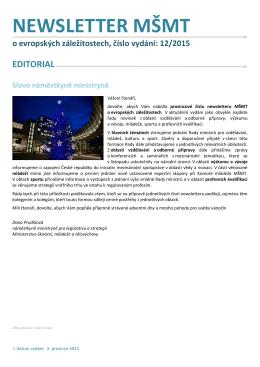 NEWSLETTER MSMT o evropskych zalezitostech_2015_c.12