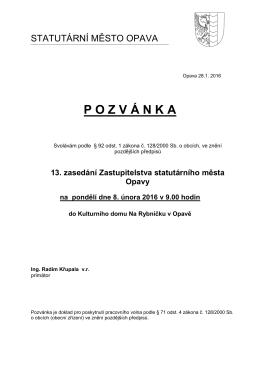 13. zasedání Zastupitelstva statutárního města Opavy