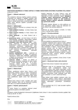 Dodatečné informace k Zajištěnému fondu Certus 4