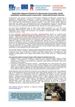 Regionální sektorová dohoda pro Olomoucký kraj pomůže vyřešit