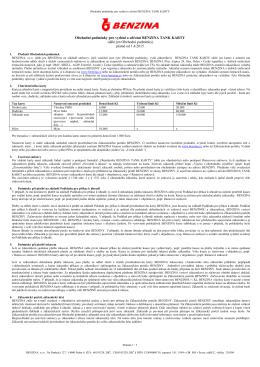 Obchodní podmínky pro vydání a užívání BENZINA TANK KARTY