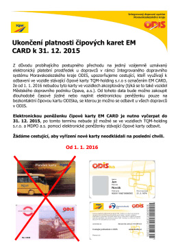 Ukončení platnosti čipových karet EM CARD k - TQM