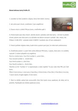 Návod aktivace karty Profits 25