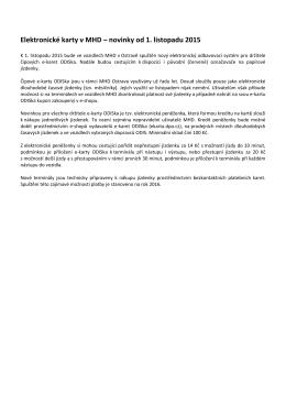 Elektronické karty v MHD – novinky od 1. listopadu 2015