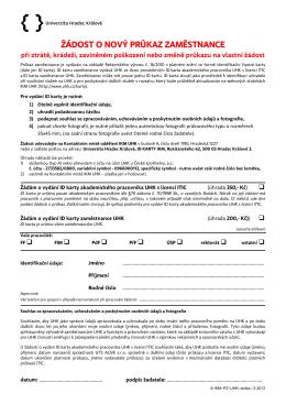 žádost o nový průkaz zaměstnance