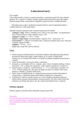 Měřící ústředny na bázi PC-lab karet. Vývojové prostředí LabView.