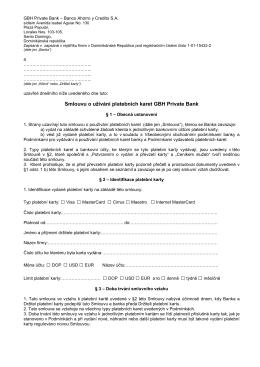 Smlouvu o užívání platebních karet GBH Private Bank