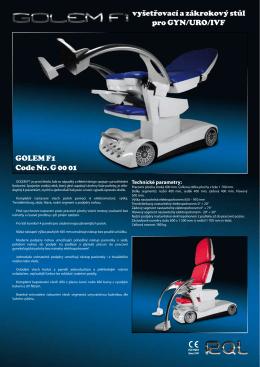 Prospekt GOLEM F1 – vyšetřovací a zákrokový stůl