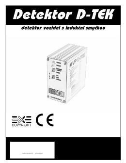 Návod pro Detektor D-TEK