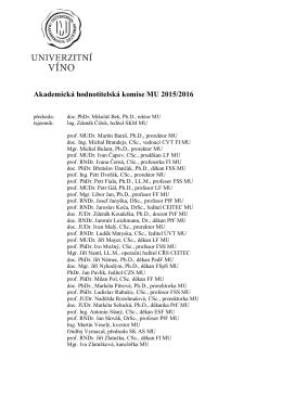 Akademická hodnotitelská komise MU 2015/2016