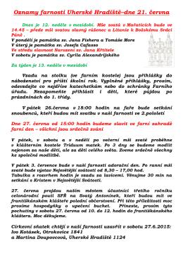 Oznamy farnosti Uherské Hradiště – dne 5