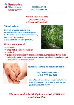Klinická pastorační péče (duchovní služba)