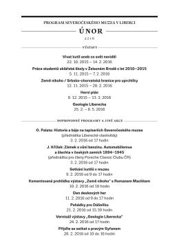 Program akcí SM na ÚNOR 2016 - Severočeské muzeum v Liberci