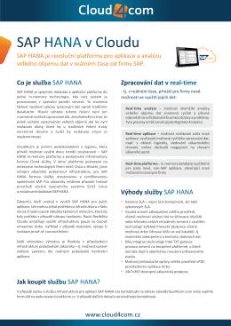 Brožura infrastruktura pro SAP HANA