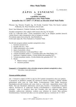 Zápis a usnesení ZO 13.7.2015