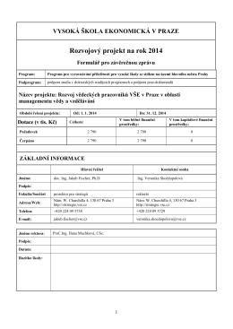Rozvojový projekt na rok 2014 - Rozvoj a strategie VŠE