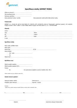 Specifikace služby GEMNET MOBIL