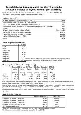 Ceník telekomunikačních služeb pro členy Stavebního bytového