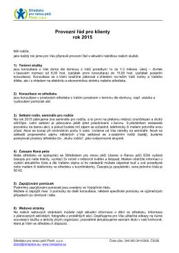 Provozní řád pro klienty 2015