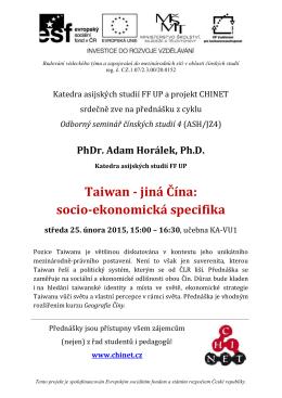 Taiwan - jiná Čína: socio-ekonomická specifika