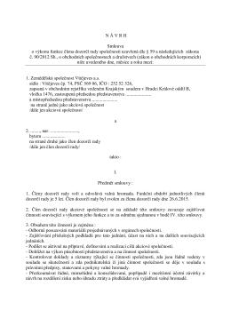 N Á V R H Smlouva o výkonu funkce člena dozorčí rady společnosti