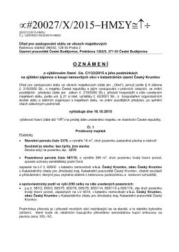 Oznámení o výběrovém řízení Český Krumlov