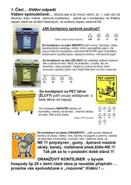1. Část… třídění odpadů NE !!! polystyren , gumy - e