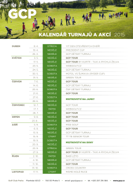 Kalendář turnajů a aKcí 2015