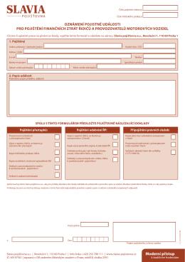 oznámení pojistné události pro pojištění