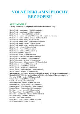 Seznam volných reklamních ploch