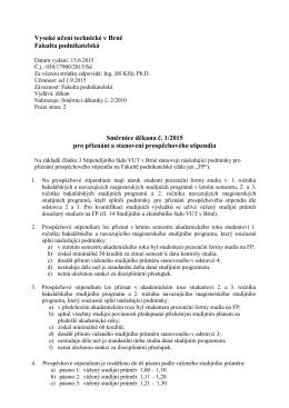 Směrnice děkana č. 1/2015 pro přiznání a stanovení prospěchového