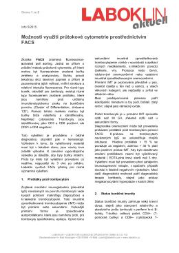 Možnosti využití průtokové cytometrie prostřednictvím FACS