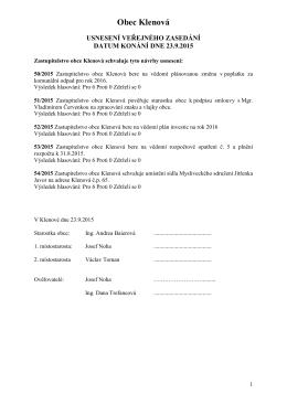Usnesení ZO ze dne 23.9.2015