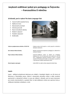 Jazykově-vzdělávací pobyt pro pedagogy ve Švýcarsku