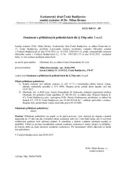 Exekutorský úřad České Budějovice soudní exekutor JUDr. Milan