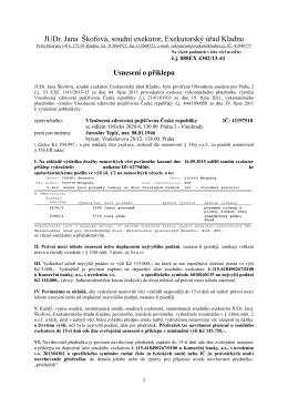 Usnesení o příklepu - Exekutorský úřad Kladno