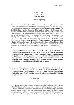 III. ÚS 1255/13 Česká republika NÁLEZ Ústavního soudu Jménem