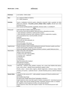 Měsíční plán: 3. třída KVĚTEN 2015 Informace 1.a 8. května – Státní