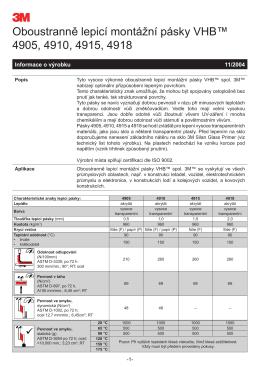 Oboustranně lepicí montážní pásky VHB™ 4905, 4910