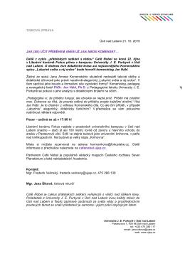 TISKOVÁ ZPRÁVA Ústí nad Labem 21. 10. 2015 JAK (SE) UČIT