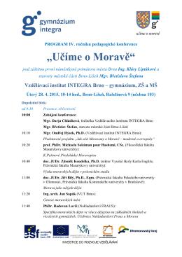 Program Pedagogické konference Učíme o Moravě