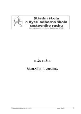 Plán práce na školní rok 2015-2016