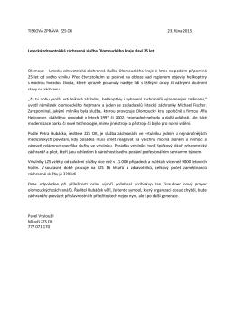 Tisková zpráva - Zdravotnická záchranná služba Olomouckého kraje