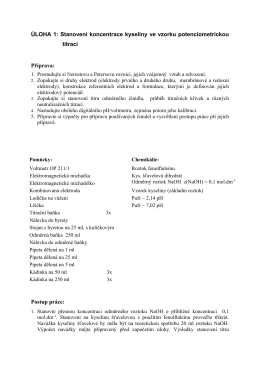 Stanovení koncentrace kyseliny ve vzorku potenciometrickou titrací