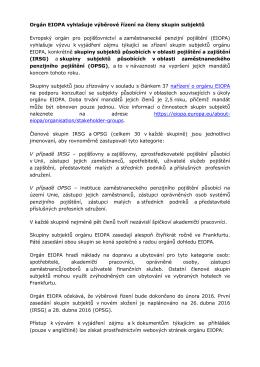 Orgán EIOPA vyhlašuje výběrové řízení na členy skupin