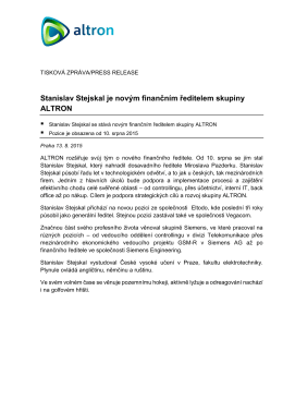 Stanislav Stejskal je novým finančním ředitelem skupiny ALTRON
