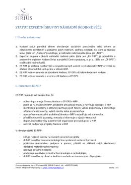 statut expertní skupiny náhradní rodinné péče